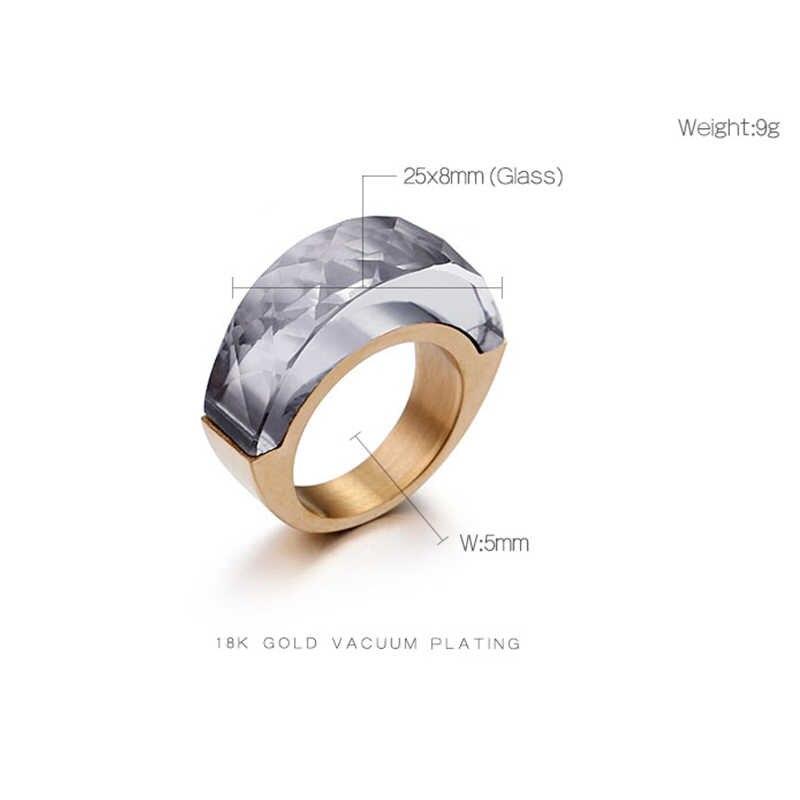 KALEN ชาติพันธุ์สแตนเลสบัลแกเรีย Gold แหวนที่มีสีสันแก้วหิน Charm แหวนแฟชั่นเครื่องประดับแหวน