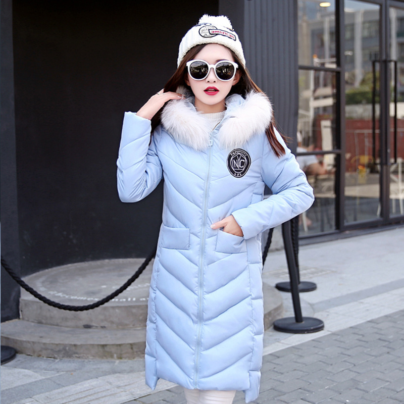 2017 Down Cotton Long Coat Winter Women Jacket Ladies Winter Hooded Coat Female Outerwear  Fit  Parka  Fur Collar Plus Size 3XL perfeo vi m001