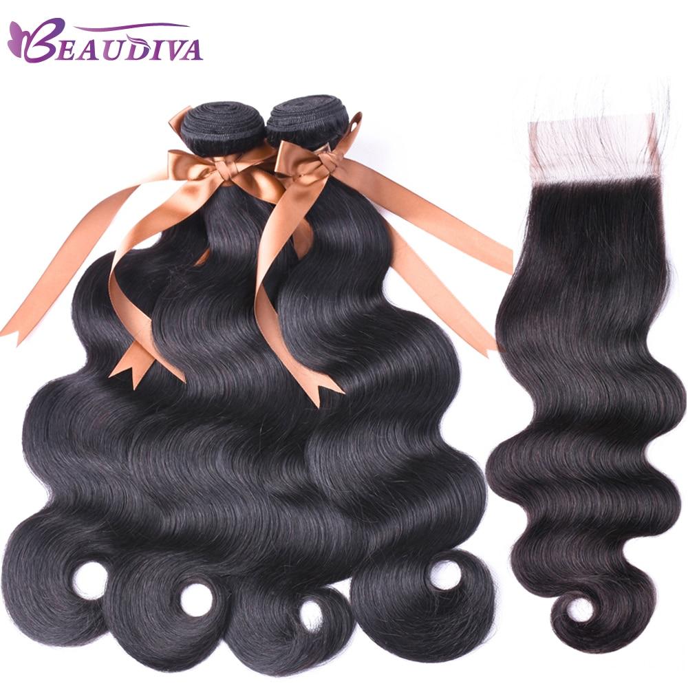 Beautiful Beaudiva Hair 4x4 Closure With Hair Bundles 3pcs Brazilian Body Wave Human Hair Bundles With