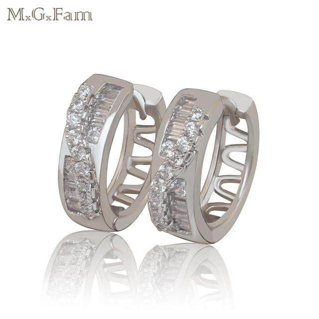 d6081accf MxGxFam Hoop Earrings Jewelry Women White Gold Color Women AAA+ artifical  Zircon Stone Europe Fashion