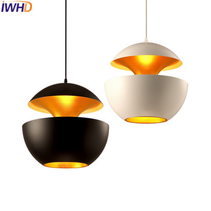 IWHD Modern Luminaire Led Pendant Lights Fashion White Black Iron Hanging Lamp Creative Dinging Kitchen Hanglamp Home Lighting iwhd glass bird hanglamp led pendant lights modern home lighting fixtures creative iron hanging lamp dining room luminaire