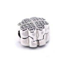 Se adapta a pandora pulsera del encanto de plata de ley original de perlas pétalos amor clip con clear cubic zirconia regalo de san valentín