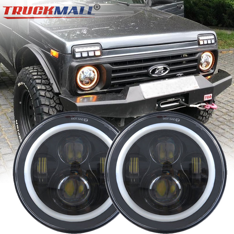 DOT EMARK Approved 7inch LED Halo Ring Headlights Projector Headlamps with Daytime Running Light for Jeep