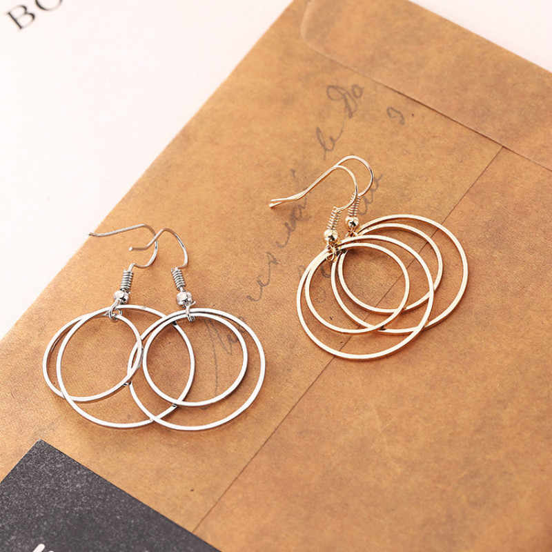 Fashion Earring Jewelry Simple Personality Pop Silver Earrings For Women Double Layer Small Circle Earrings Brincos Long Earring