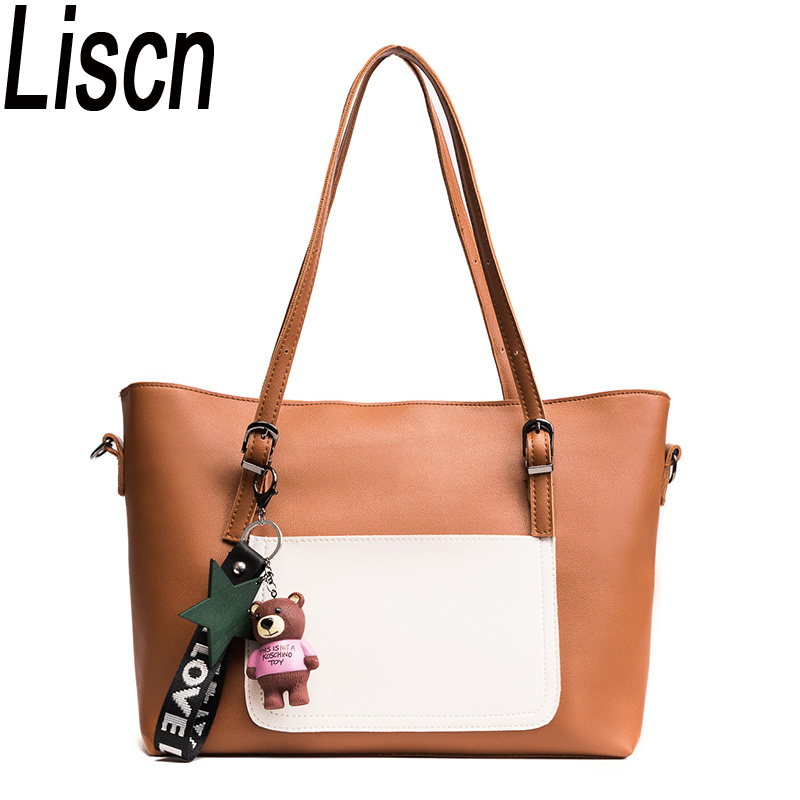 New handbag shoulder large capacity handbag ladies handbag high quality casual simple shopping bag color atmosphere 2
