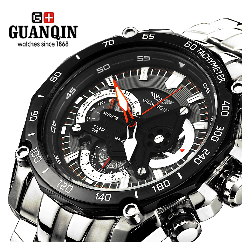 GUANQIN Big Dial Watch Men Waterproof Luminous Men Quartz Watches Stainless Steel Wristwatches Man Fashion Clock saat erkekler стоимость