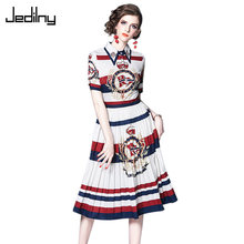 Casual Women Dress 2019 Summer Dress Short Sleeve Single Breasted Crown Print Elegant Party Dress Vestidos(China)