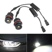 2pcs LED Angel Eyes for BMW E39 E53 E63 Error Free White LED Light Bulbs 80W 6500k Halo Ring Head Light for BMW E61 E64 E83 E87