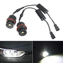 2pcs LED Angel Eyes for BMW E39 E53 E63 Error Free White LED Light Bulbs 80W 6500k Halo Ring Head Light for BMW E61 E64 E83 E87(China)
