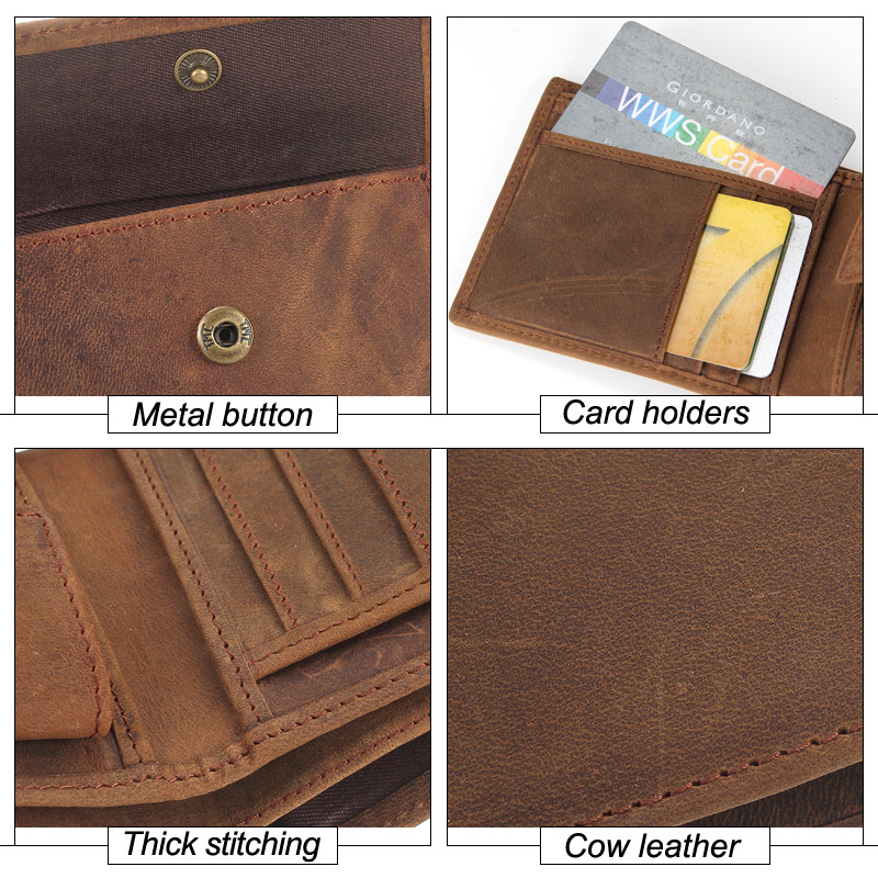 MISFITS NEW Genuine Leather Mens Wallets Crazy Horse Leather Men Wallet Coin Pocket and Card Holder High Quality Purses for Male Men Men's Bags Men's Wallets