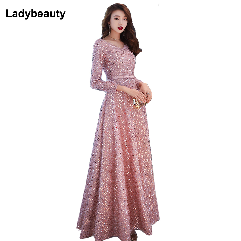 Ladybeauty 2019 New Simple Sequins Evening Dress Dark Pink Long Sleeve Floor-length With Belt Long Formal Party Gowns