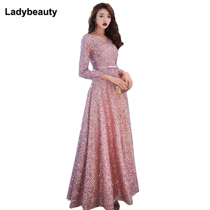 99ddfce8aa02 Ladybeauty 2019 nuevo Simple lentejuelas vestido de noche rosa oscuro de  manga larga hasta el suelo ...