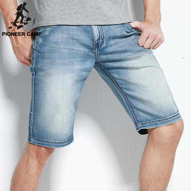 Pioneer Camp new fashion mens short jeans cotton summer style shorts thin breathable denim shorts men jeans light blue 566045