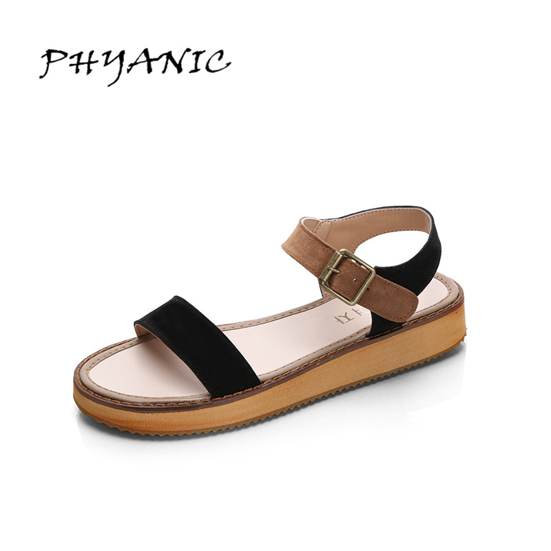 PHYANIC Women Sandals 2017 New Simple New Summer Style Girl's Shoes Buckle Flat with Fashion Women's Shoes PHY3389 phyanic summer style shoes woman 2017 new gladiator sandals platform flats fashion creepers women flat shoes 3 colors phy4044