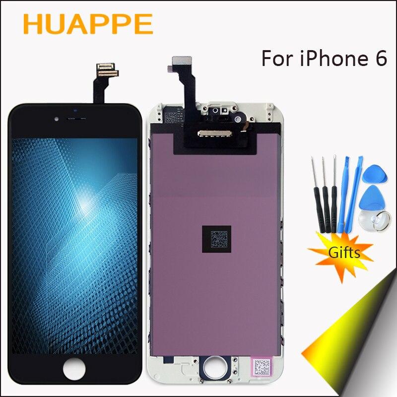 HUAPPE Testati Al 100% AAA + + Buona Qualità No Dead Pixel LCD Touch Screen Per iPhone 6 Display di Ricambio Con Digitalizzatore 4.7 pollici