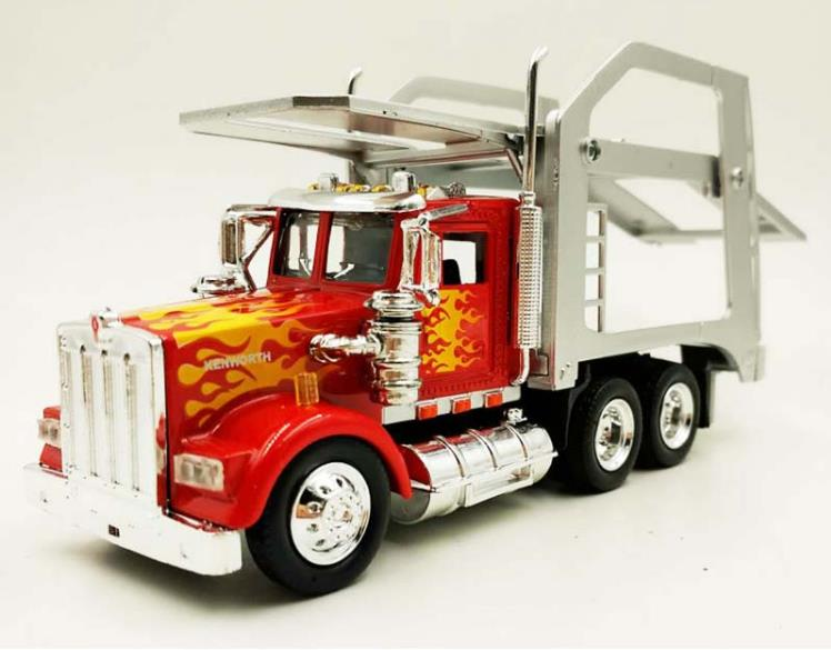 Us 14 95 12 Off 1 43 Alloy Trailer Model High Simulation Iveco Car Transporter Truck Toy Vehicles Kenworth W900 Truck Free Shipping In Diecasts