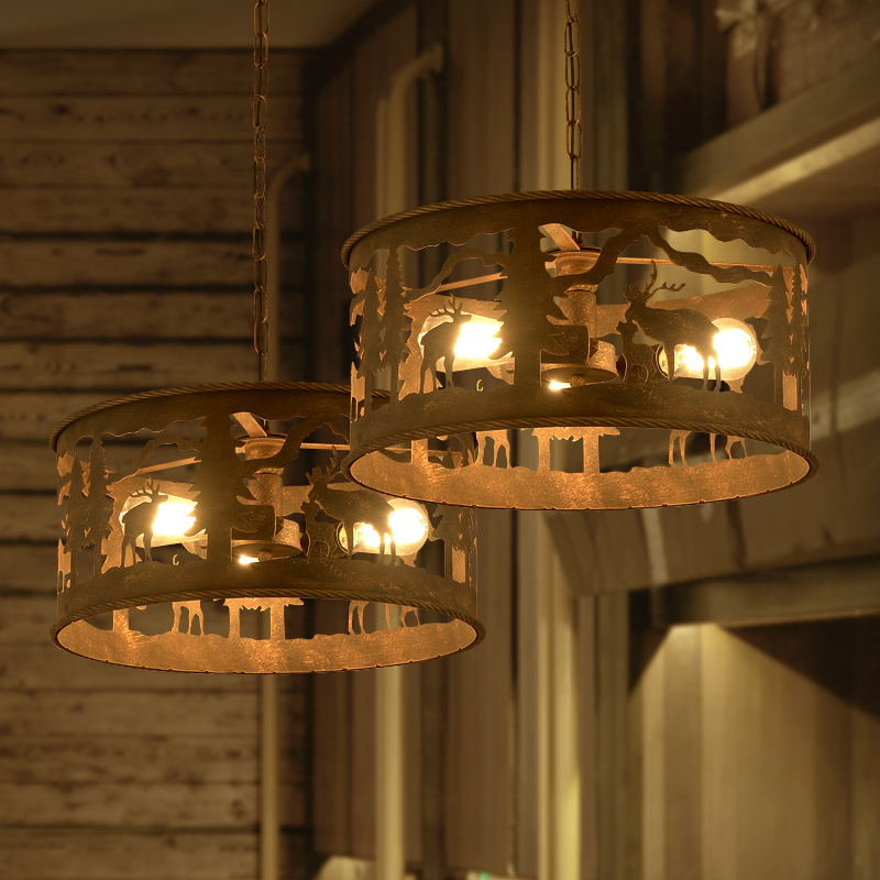 Creative Personality Retro Industrial Wind Restaurant Chandelier Bar Store Iron Animal Deer Loft Net Cafe Lamp Free Shipping loft industrial retro chandelier personality simple creative living room cafe bar spiral staircase chandelier lighting