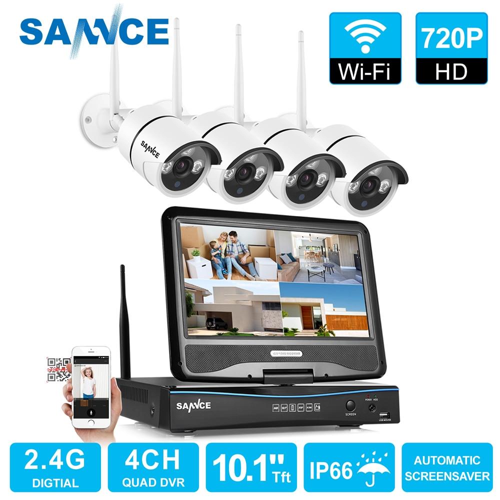 цена на SANNCE 4 Channel Wifi 720P ip camera NVR CCTV Wireless Camera System 4CH wifi NVR kit wifi NVR kits CCTV kit 1TB HDD