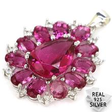 Guaranteed Real 925 Solid Sterling Silver 4.3g New Designed Pink Tourmaline CZ Womans Pendant 34x23mm