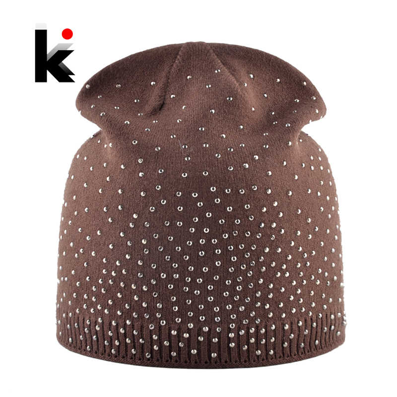 380018df38b Knitted Winter Beanies Women Shinning Rhinestone Hats Autumn Knitting Skullies  Beanies Ladies Soft Warm Bonnet Caps