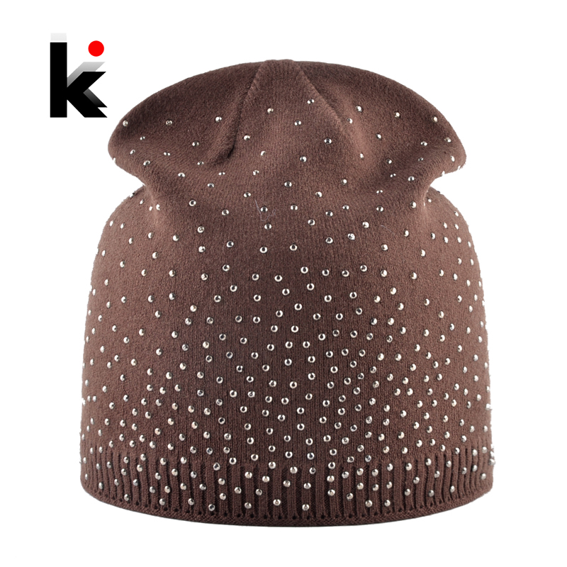 Knitted Winter   Beanies   Women Shinning Rhinestone Hats Autumn Knitting   Skullies     Beanies   Ladies Soft Warm Bonnet Caps Female Gorro