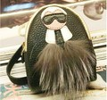 Hottest Large Monster backpack coin purse wallet keychain keyring PU leaher fox fur multifunction car bag pendant charm