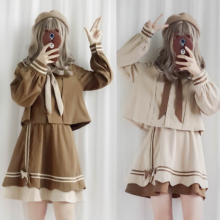 Students JK Uniform Lolita Top Shirt Skirt School Kawaii Girls Cute Bowtie Cosplay Costume Long Sleeves Blouse