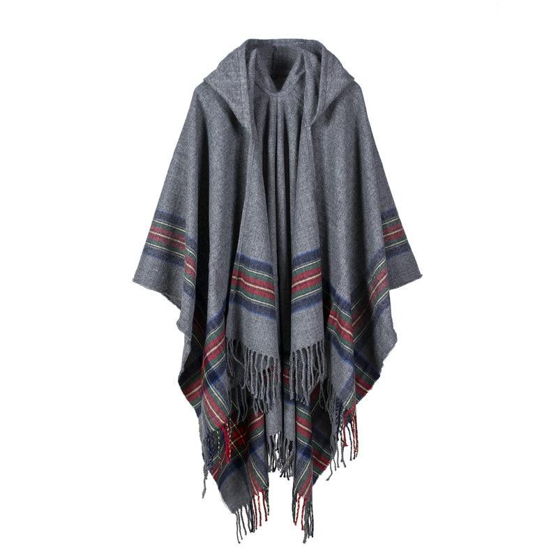 Women Cloak Wrap Shawl Cape Poncho Hoodie Scarf Knitted Cardigan Blanket Sweater