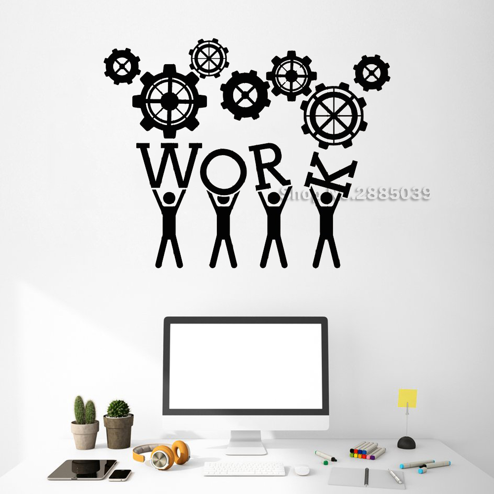 New Arrival Work Teamwork Wall Decals Office Decor Worker Gear Unique Stickers Commerce Room Wall Sticker DIY Removable LC515