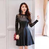 Autumn Winter Women Sexy Sexy Full Sleeve Sheath PU Patchwork Lace A-line Dresses Girl Hollow Out Faux Leather Dresses BR2639