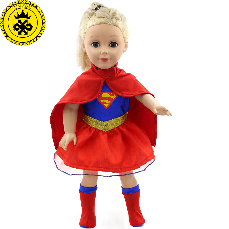 New Superman Costume Dress + Cloak + Sock American Girl Dolls Clothing of 18 inch Doll Dress Girl Best Gift 2017 New MG-200