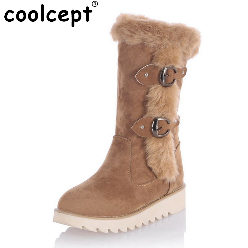 Size 31-43 Gladiator Snow Boots Women Flats Half Short Boot Ladies Warm Plush Winter Mid Calf Boots Footwear Shoes Woman