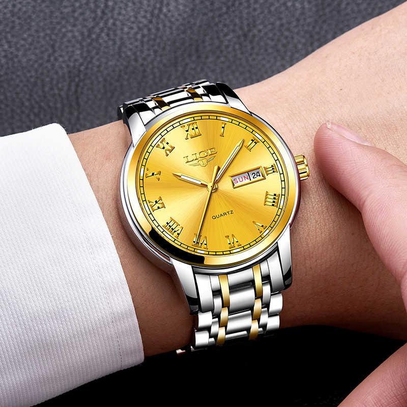 Lige 남자 시계 톱 브랜드 럭셔리 패션 비즈니스 쿼츠 시계 남자 스포츠 전체 스틸 방수 손목 시계 relogio masculino