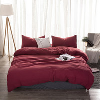Soft Washed Cotton Bedding Set red Bedlinen twin full queen king Duvet Cover bed sheet pillowcase adult solid color Bedclothes