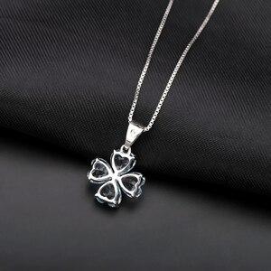 Image 3 - GEMS BALLET 3.83Ct Natural Sky Blue Topaz Gemstone Pendant 925 Sterling Silver Clover Pendant Necklace For Women Fine Jewelry