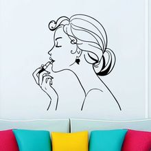Fashion Girl Wall Sticker Make Up Decals Beauty Salon Decoration Removable Beautiful Comestic Mural AY964