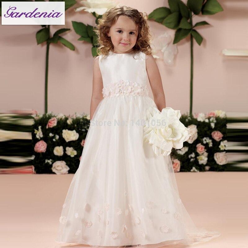 791cca1e009 Elegant Flower Girl dresses Sleeveless Tulle A-line Full Length Princess  Flower Decorated Indian Party Dresses for Kids