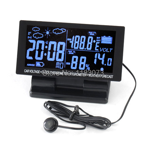Brand 4in1 Digital Car Thermometer Hygrometer DC 12V LCD Vehicle Voltage Clock Weather Forecast Temperature Humidity Meter