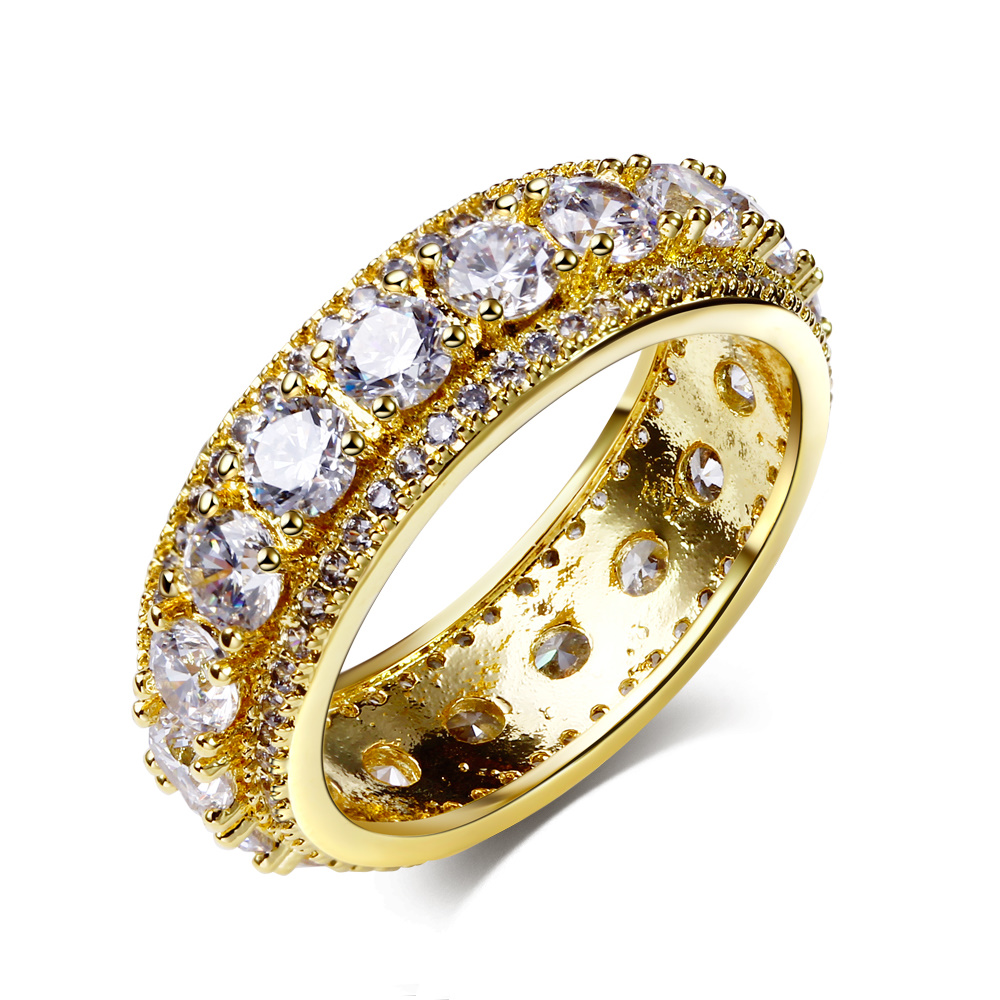 new designer bijoux extreme sparkling round turkish gold color jewelry fashion cz stones aaa quality white wedding band ring - Turkish Wedding Ring