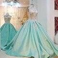 A Personalização avançada de Alta Pescoço Vestido de Noite Azul Longo Aberto Para Trás elegante Longo Pary vestido de Baile Vestido De Festa Longo Robe De sarau
