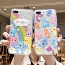 INS Korea cute cartoon animal candy rainbow happy bear phone case For iphone Xs MAX XR X 6 6s 7 8 plus clear soft TPU back Cover aertemisi ins korea super fire candy color bear phone case for iphone xs max xr x 6 6s 7 8 plus cute wave point clear soft tpu