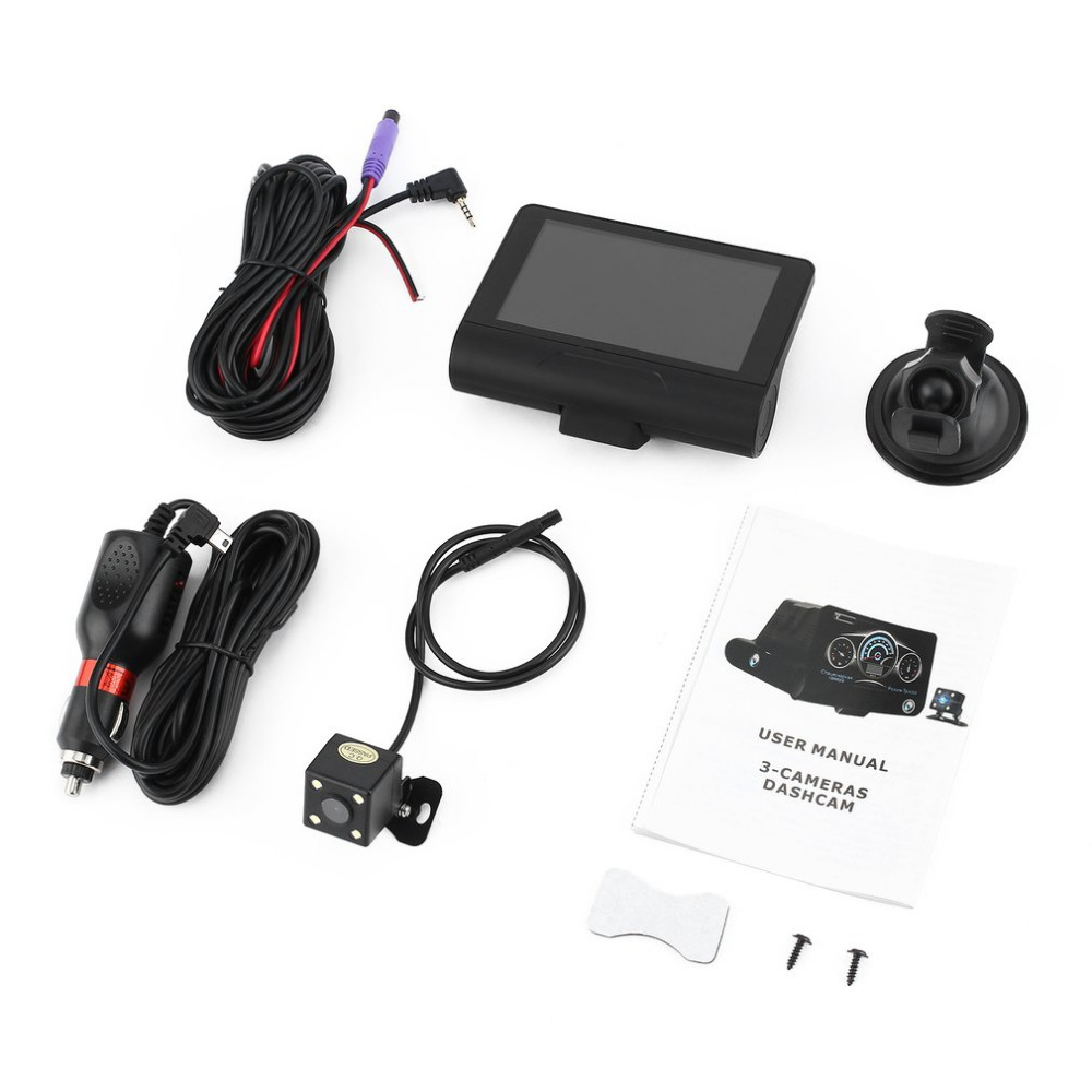 2 in 1 4 Inch Car DVR with Radar Detector Automobile HD Wide Angle Night Vision Recorder LCD Dash Cam with Dual Camera Lenses
