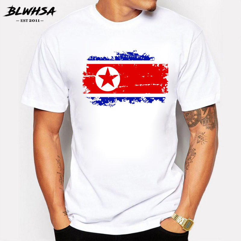 BLWHSA Nostalgic Style Men's North Korea Flag Print T-Shirt Cool T Shirt Men Summer White T shirt Hipster Tees image