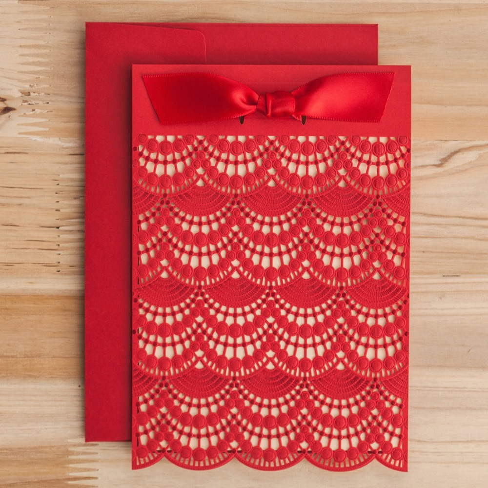 Laser Cut Wedding Invitations Cards Red Ivory Lace Paper Cardstock ...