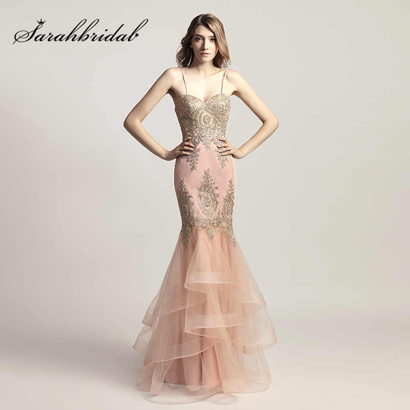 01bde889c2f Spaghetti Strap Blush Mermaid Celebrity Dresses with Golden Crystal  Appliques Formal Evening Wear Sweetheart Party Gowns