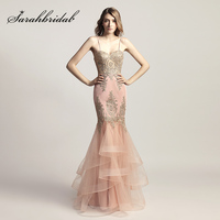 Spaghetti Strap Blush Mermaid Celebrity Dresses With Golden Crystal Appliques Formal Evening Wear Sweetheart Party Gowns