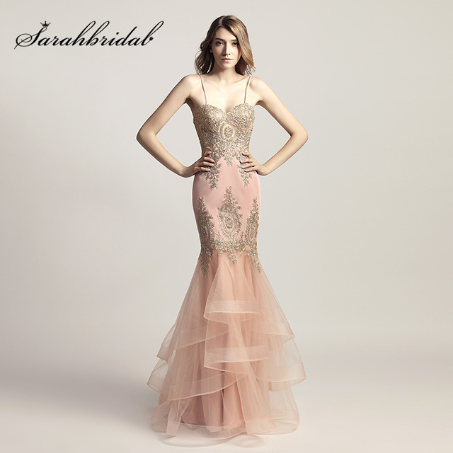 Spaghetti Strap Blush Mermaid Celebrity Dresses with Golden Crystal Appliques Formal Evening Wear Sweetheart Party Gowns OL462