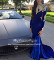 Africano estilo longo azul royal vestidos de baile 2017 alta qualidade de veludo ouro lace manga comprida mermaid prom dress
