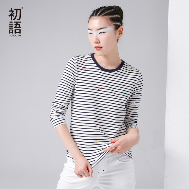 Toyouth T-Shirts Women Cotton Long O-Neck Striped Printed Casual Top