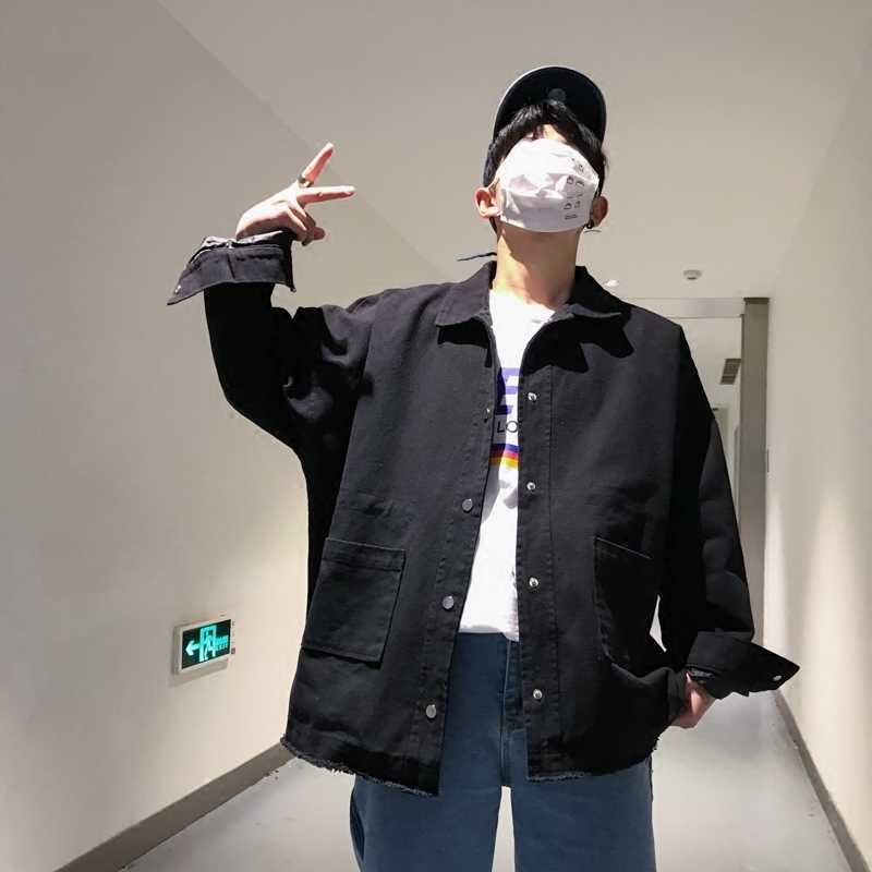 2018 Spring Men's Korean Style Fashion Simple Streetwear Windbreaker Green/camel/black Loose Casual Denim Jackets Coats M 2XL